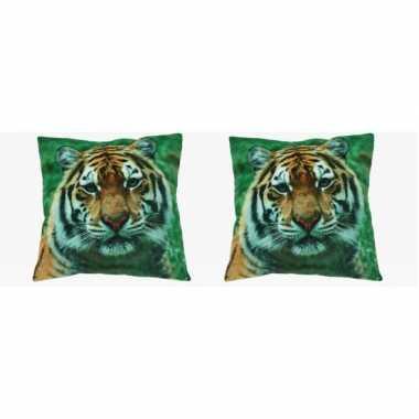 2x bank kussentje tijger woondecoratie cadeau