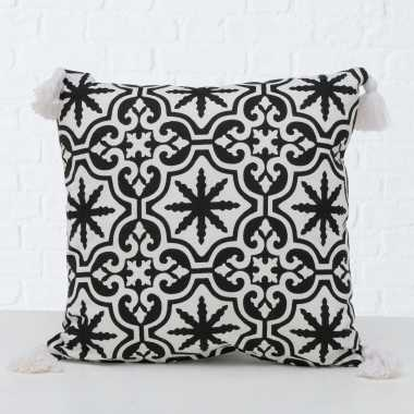 2x bank kussentjes sevilla zwart/wit woondecoratie cadeau 45 x 45 cm