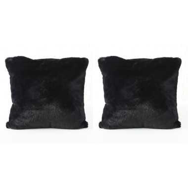 2x bank kussentjes zwart extra zacht woondecoratie cadeau 45 x 45 cm