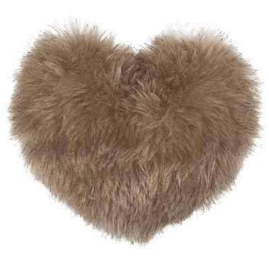 2x beige hartjes kussens met pluche 35 cm
