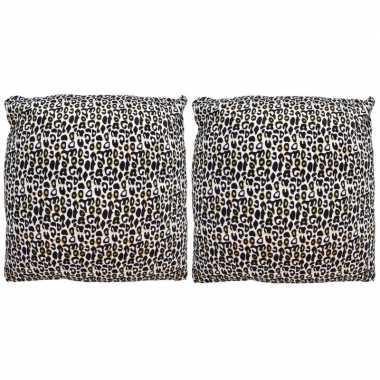 2x kussens met cheetah print 45 cm