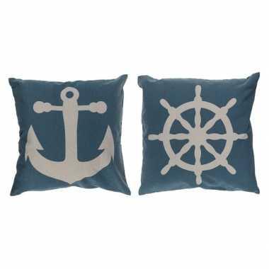 2x maritiem blauwe kussens met anker en stuurwiel 40 cm