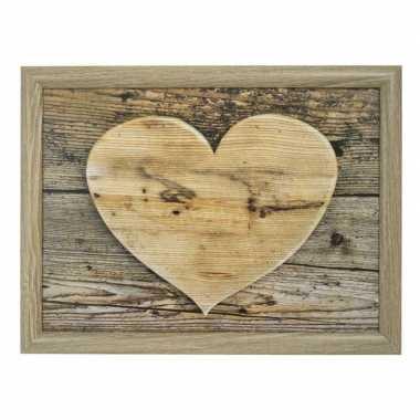 2x schootkussen/laptray hart houtprint 43 x 33 cm