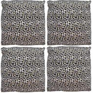 4x kussen met cheetah print 45 cm