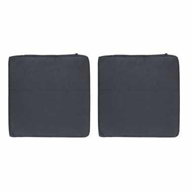6x stoelkussens voor binnen en buiten in de kleur zwart 40 x 40 cm