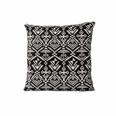 Bank kussens inca motief zwart 40 x 40 cm