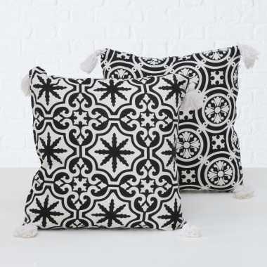 Bank kussentjes set sevilla wit/zwart woondecoratie cadeau 45 x 45 cm