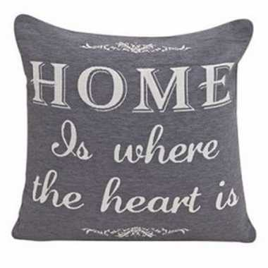 Bankkussentje grijs home is where the heart is 45cm
