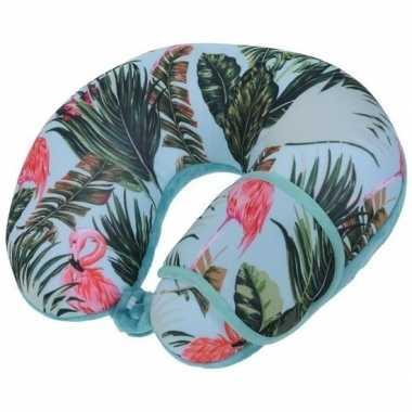 Blauw nek kussen en masker met flamingos voor volwassenen
