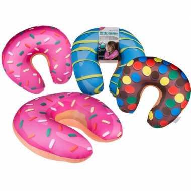 Blauwe donut nekkussen voor op reis
