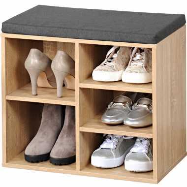 Bruine houtlook schoenenkast schoenenrek bankje 29 x 48 x 51 cm met zitkussen