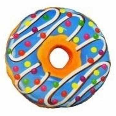 Decoratie kussentje donut blauw 38 cm