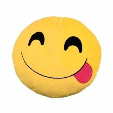 Emoticons sierkussen lachend met tong30 cm