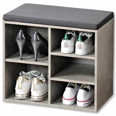 Grijze betonlook schoenenkast schoenenrek bankje 29 x 48 x 51 cm met zitkussen