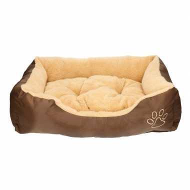 Huisdieren kussentje beige bruin 61 x 48 cm 10130503