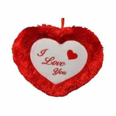 Rood/wit harten kussen i love you 45 cm