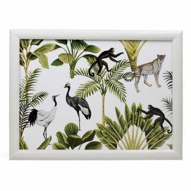 Schootkussen/laptray jungle wit met aap luipaard vogel print 33 x 43 cm