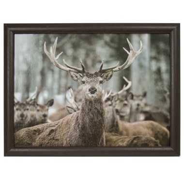Schootkussen/laptray winter hert print 43 x 33 cm