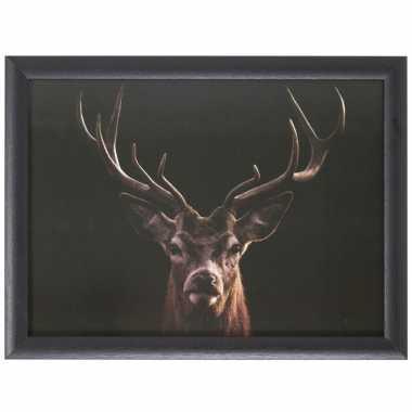 Schootkussen/laptray zwarte hert print 43 x 33 cm