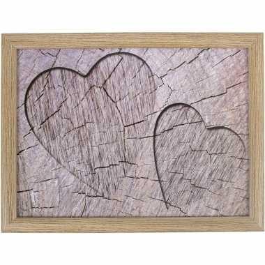 Set van 2 schootkussens/laptrays boomstam/hout hartjes print 33 x 43 cm