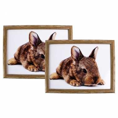 Set van 2 schootkussens/laptrays konijn print 43 x 33 cm