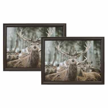 Set van 2 schootkussens/laptrays winter hert print 43 x 33 cm
