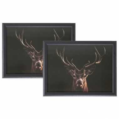 Set van 2 schootkussens/laptrays zwarte hert print 43 x 33 cm
