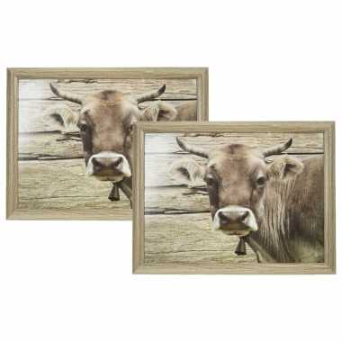 Set van 2 schootkussens/laptrays zwitserse koe print 43 x 33 cm