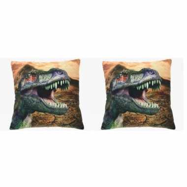 Set van 2x stuks bank kussentjes dinosaurus woondecoratie cadeau