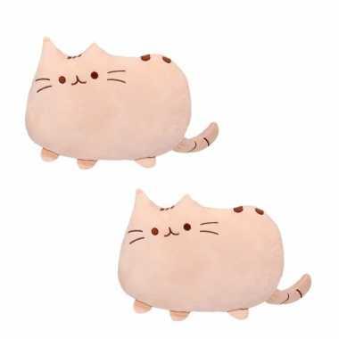 Set van 2x stuks katten/poezen sier/bank kussentjes beige 40 cm