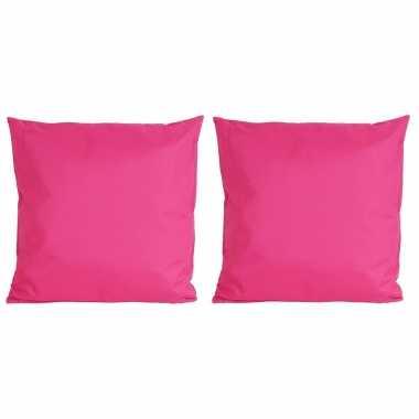 Set van 4x stuks bank/sier kussens voor binnen en buiten in de kleur