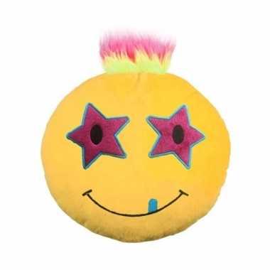 Sierkussen emoticon sterren met kuif 35 cm