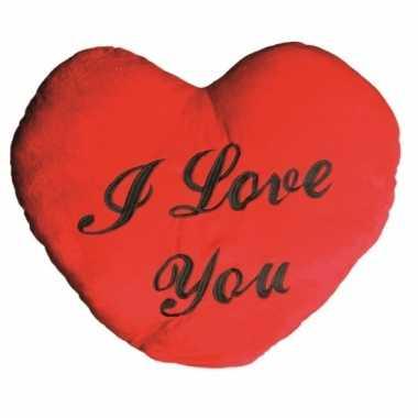 Valentijnsdag pluche i love you kussen kado 60 cm