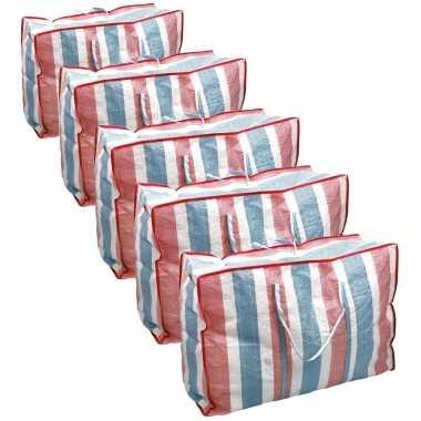 Voordeelset 10x deken/kussen opbergtas raffia gestreept 80 x 31 x 60 cm