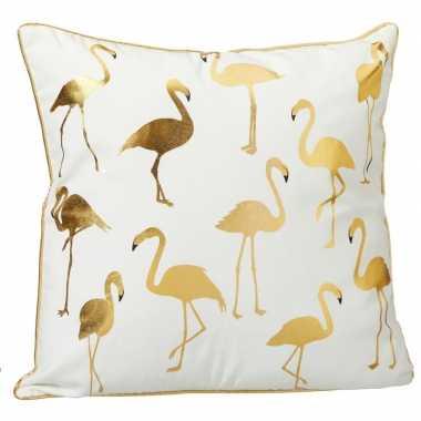 Wit kussen met gouden randen en flamingo's 45 x 45 cm