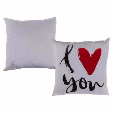 Witte kussen i love you 40 x 40 cm