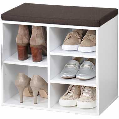 Witte schoenenkast schoenenrek bankje 29 x 48 x 51 cm met zitkussen