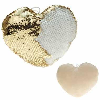 Woondecoratie hartjes kussens goud/creme metallic met pailletten 30 c