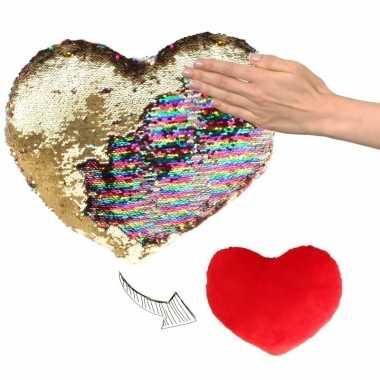 Woondecoratie hartjes kussens goud/rood metallic met pailletten 30 cm