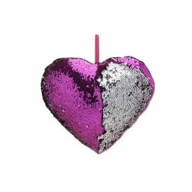 Woondecoratie hartjes kussens paars/zilver metallic met pailletten 30
