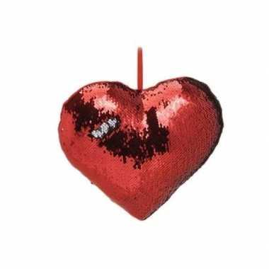 Woondecoratie hartjes kussens rood/zilver metallic met pailletten 30