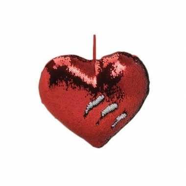 Woondecoratie hartjes kussens rood/zilver metallic met pailletten 35