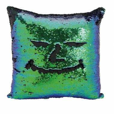 Woondecoratie kussens blauw/groen/zwart metallic met pailletten 40 cm
