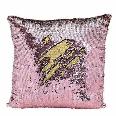 Woondecoratie kussens roze/goud metallic met pailletten 40 cm