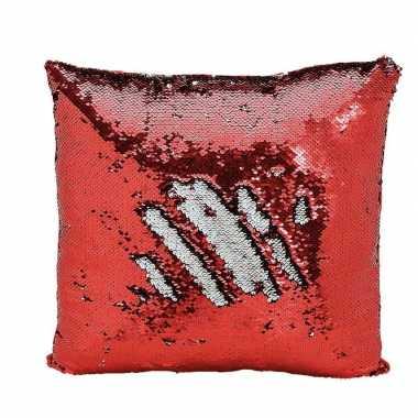 Woondecoratie wrijf kussens rood/zilver metallic met pailletten 40 cm
