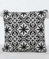 1x bank kussentjes sevilla zwart wit woondecoratie cadeau 45 x 45 cm
