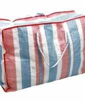 1x deken kussen opbergtas raffia gestreept 80 x 31 x 60 cm