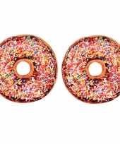2x bank kussen donut chocolade