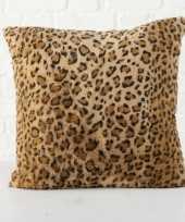 2x bank kussentjes luipaard vacht woondecoratie cadeau 45 x 45 cm