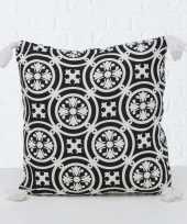 2x bank kussentjes sevilla wit zwart woondecoratie cadeau 45 x 45 cm